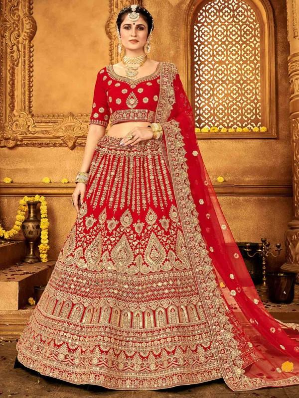 Velvet Fabric Lehenga Choli in Red Colour.