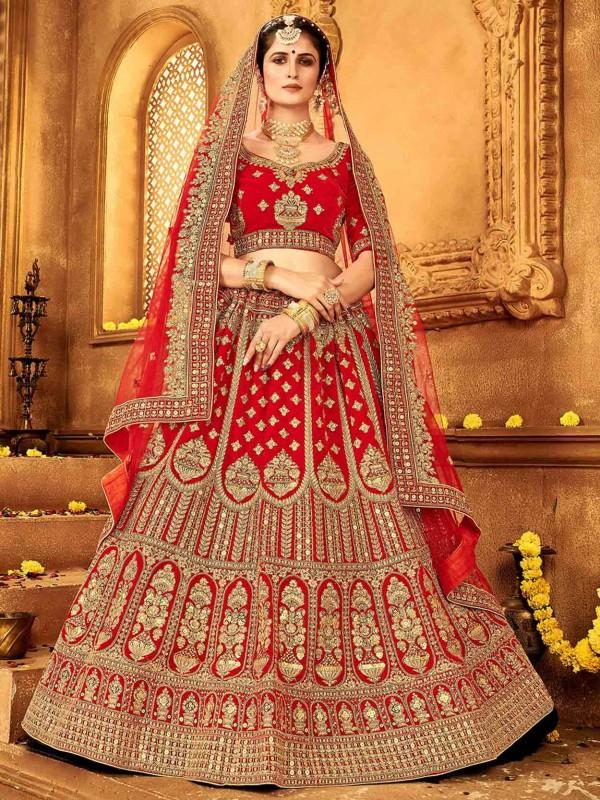 Red Colour Bridal Lehenga Choli in Velvet Fabric.