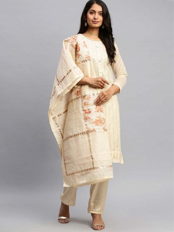 Cream Colour Casual Salwar Suit Printed Work.