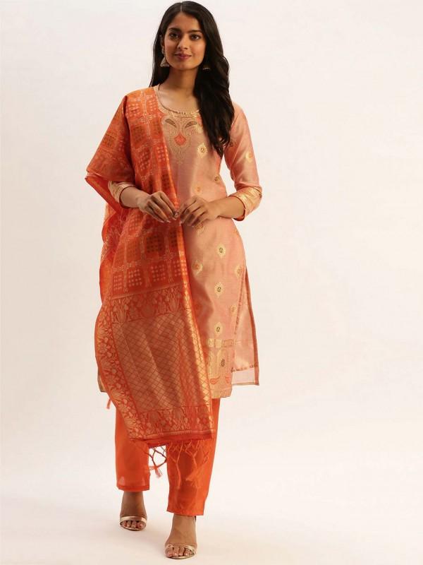 Peach Colour Silk Printed Salwar Kameez.