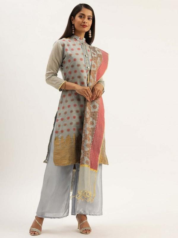 Grey Colour Silk Salwar Kameez.