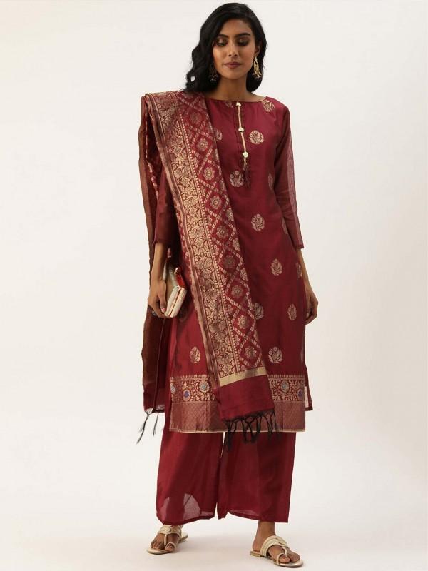 Maroon Colour Silk Printed Salwar Suit.