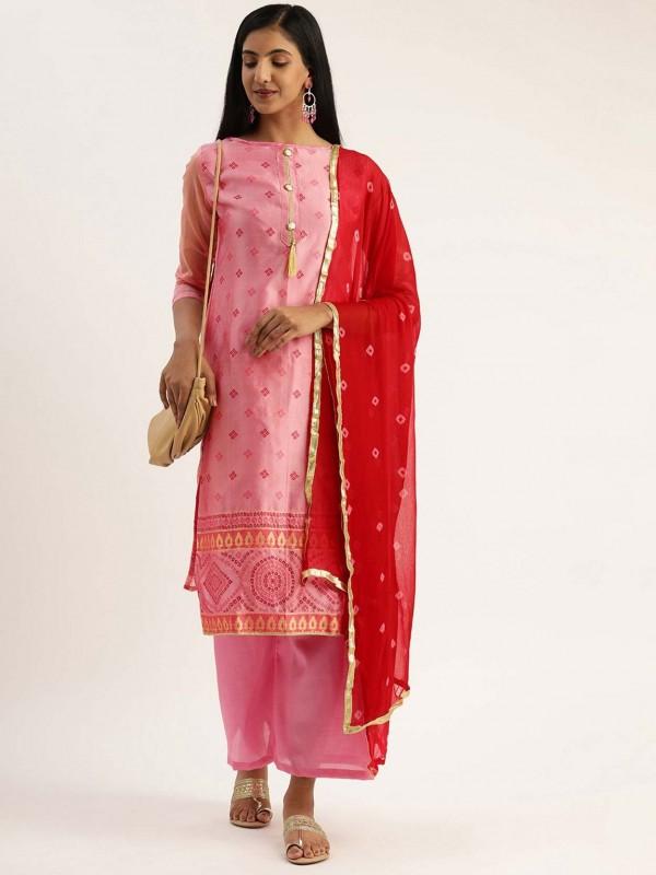 Pink Colour Silk Printed Salwar Suit.