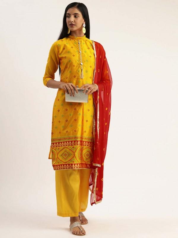 Printed Salwar Suit Yellow Colour Silk Fabric.