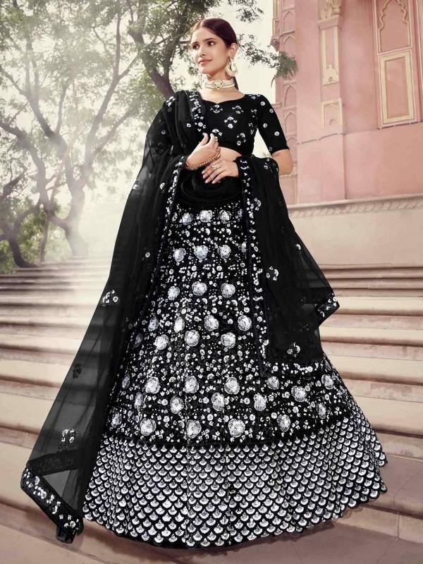 Black Colour Net Designer Lehenga.
