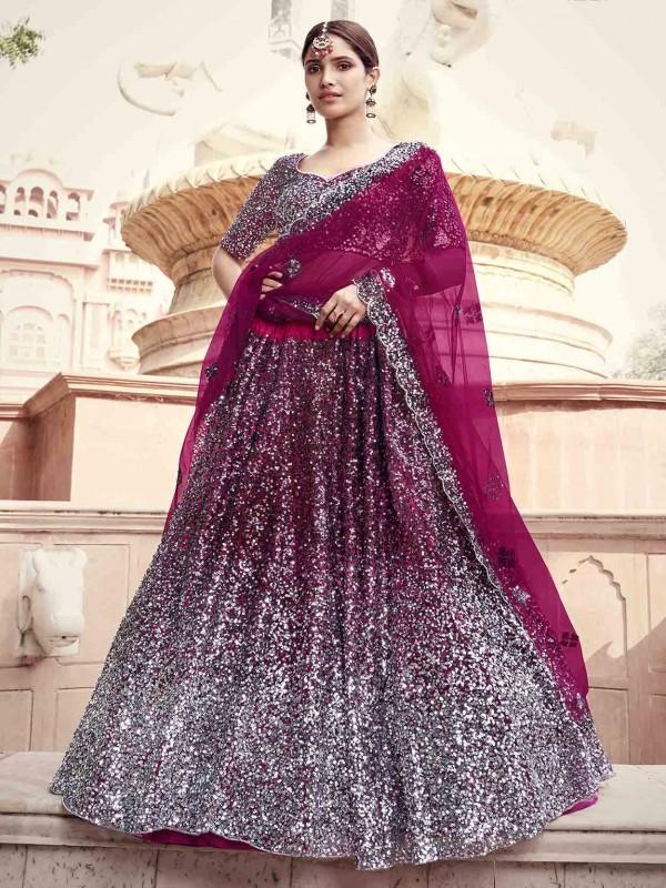 Wine Colour Net Designer Lehenga Choli.