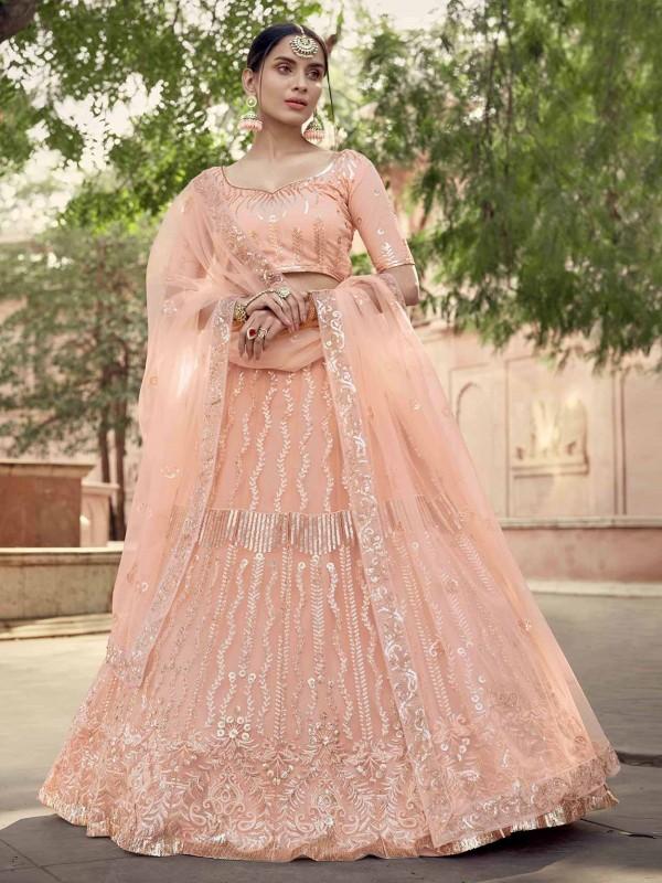 Peach Colour Net Fabric Lehenga Choli With Thread,Sequin Work.