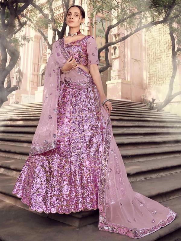 Pink Colour Net Wedding Lehenga Choli.