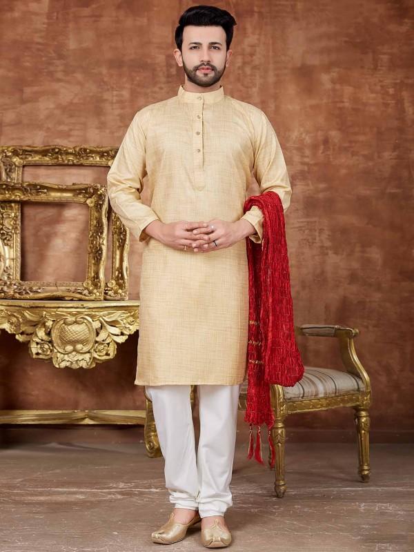 Golden Colour Cotton Kurta Pajama.