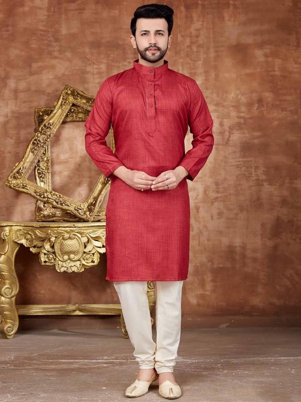 Red Colour Designer Kurta Pajama.