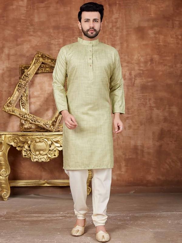 Cotton Kurta Pajama in Light Green Colour.