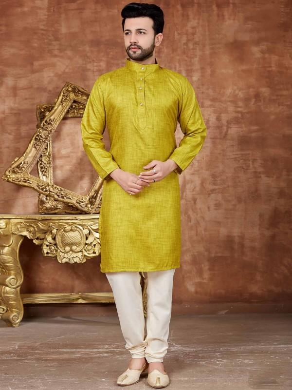 Mehandi Green Colour Men's Kurta Pajama.