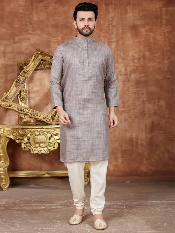 Grey Colour Cotton Kurta Pajama.