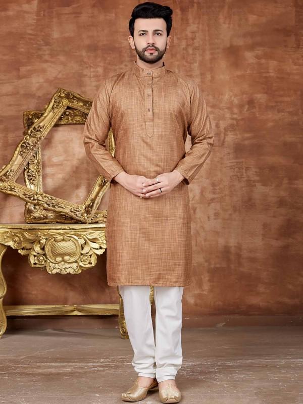 Cotton Kurta Pajama in Brown Colour.