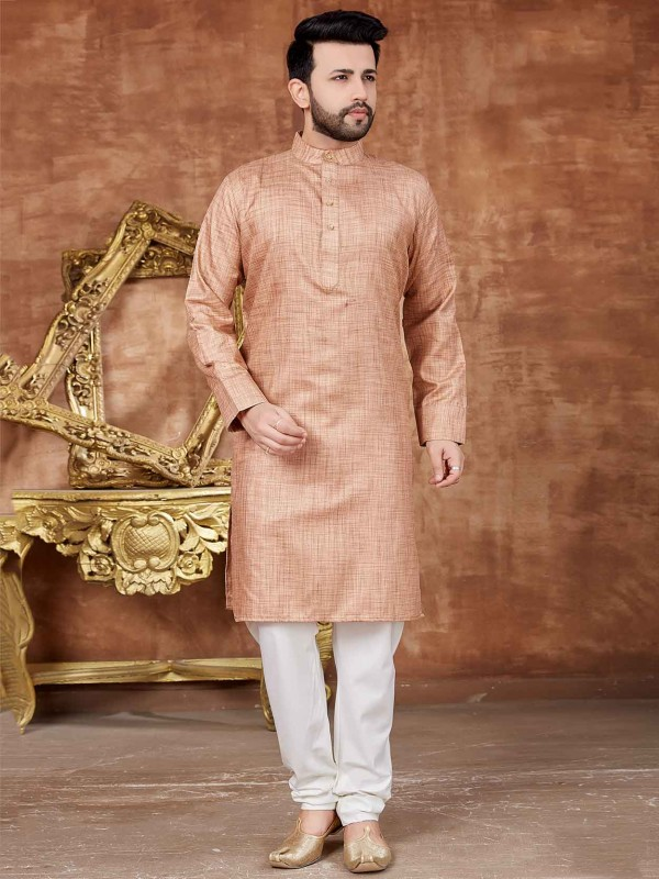 Beige Colour Cotton Kurta Pajama.