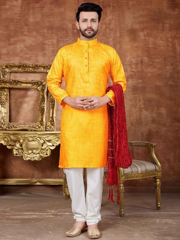 Yellow Colour Men's Kurta Pajama.