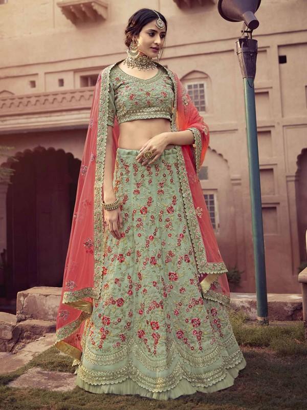 Pista Green Colour Georgette Fabric Designer Lehenga Choli.