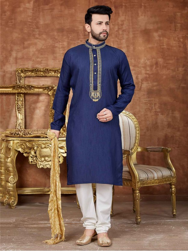 Blue Colour Silk Designer Kurta Pajama.