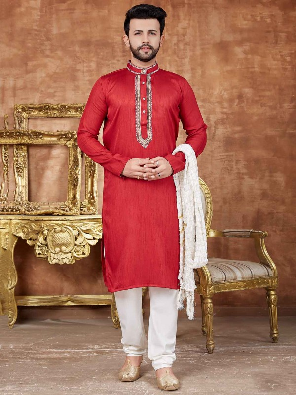 Art Silk Men's Kurta Pajama in Red Colour With Embroidered Work.