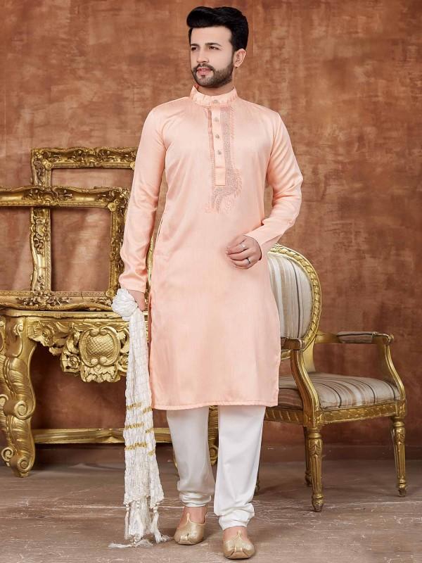 Art Silk Designer Kurta Pajama in Pink Colour.
