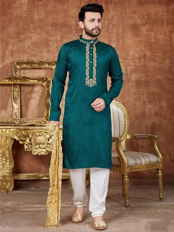 Green Colour in Art Silk Fabric Men's Kurta Pajama.