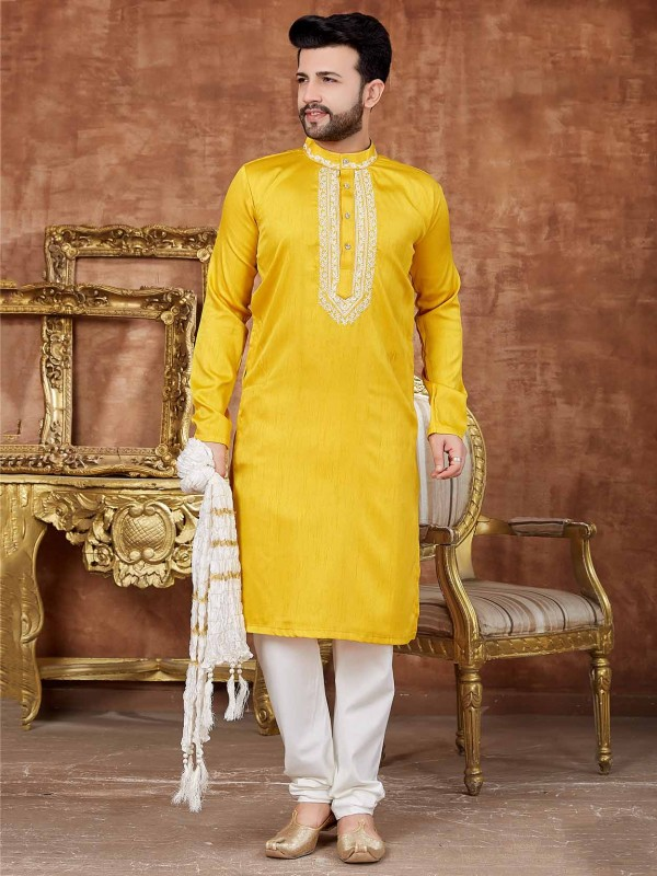 Yellow Colour Men's Designer Kurta Pajama in Art Silk Fabric.