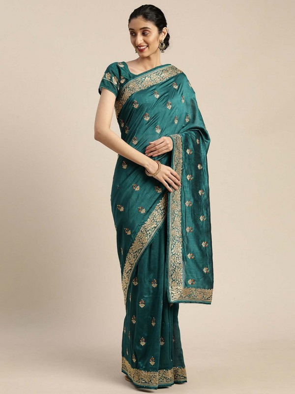 Rama Green Colour Crepe Silk Saree.