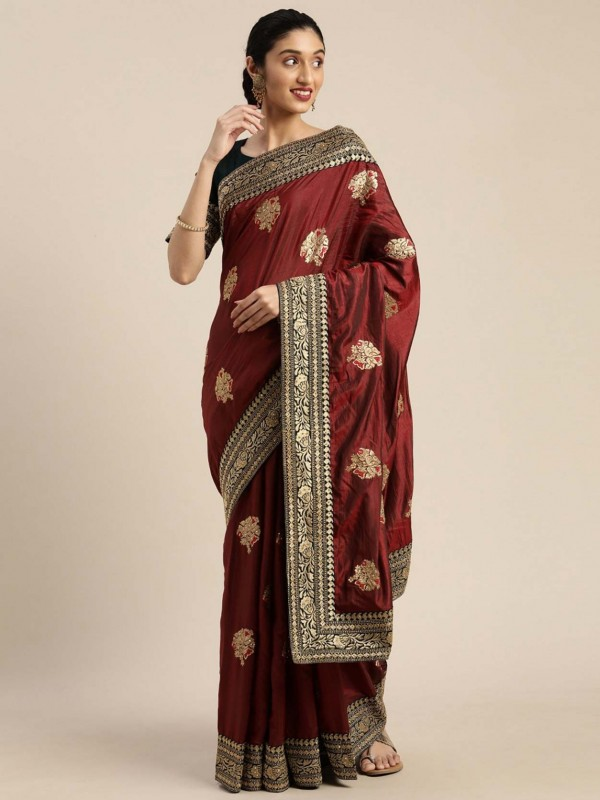 Maroon Colour Designer Silk Saree.