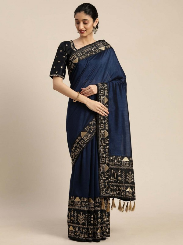Navy Blue Colour Silk Party Wear Saree.