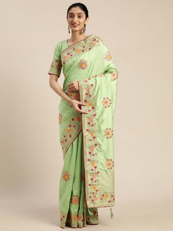 Sea Green Colour Silk Sari.