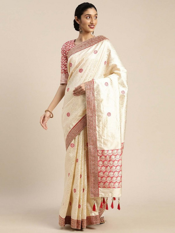 Cream Colour Art Silk Designer Sari.