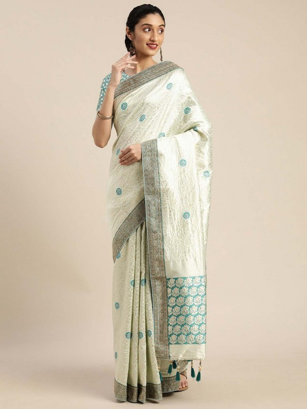 Off White Colour Art Silk Women Saree.