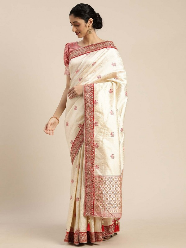 Cream Colour Art Silk Saree.