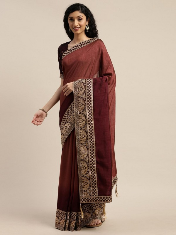 Maroon Colour Silk Party Wear Saree.