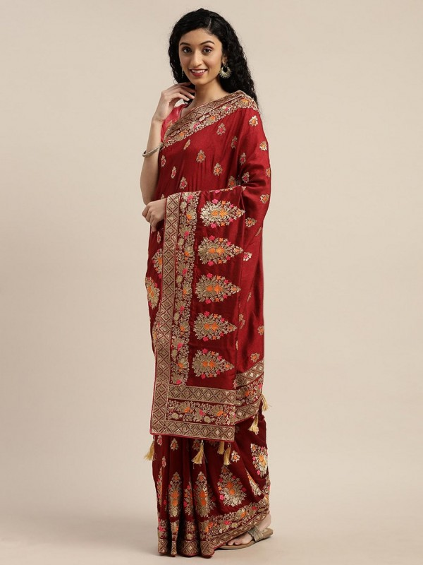 Maroon Colour in Silk Women Sari.