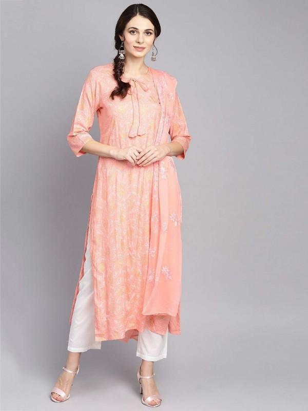 Peach Colour Women Salwar Kameez in Cotton Fabric.