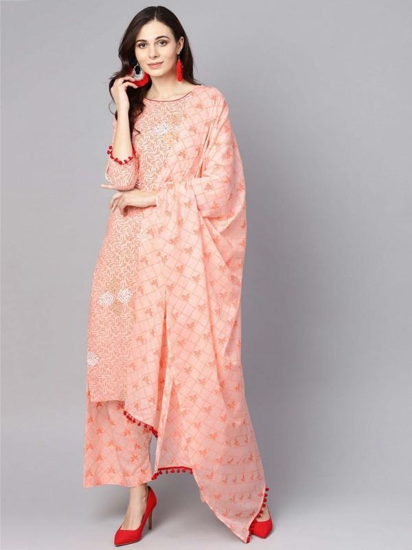 Peach Colour Cotton Readymade Salwar Kameez.