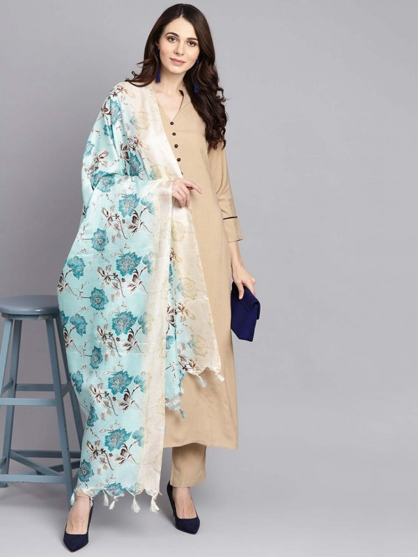 Cotton Readymade Salwar Suit in Beige Colour.