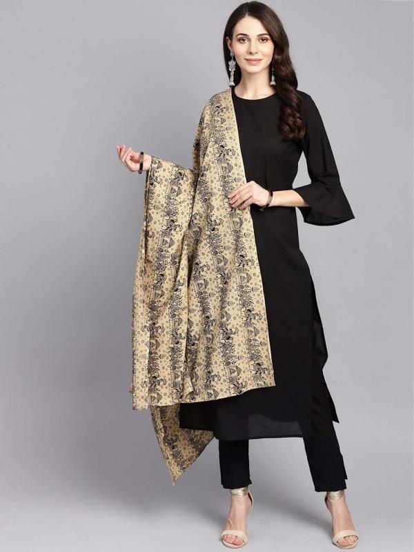 Black Cotton Casual Salwar Kameez.