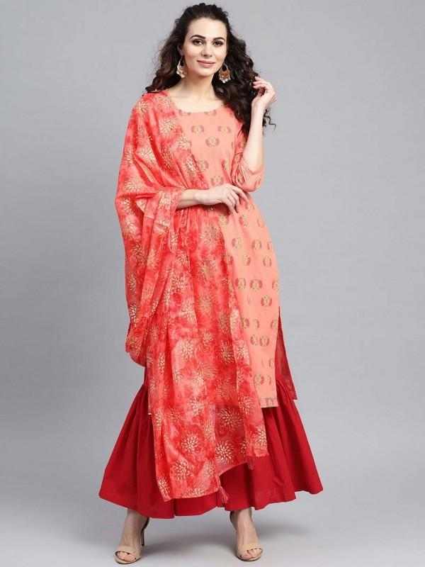 Red Colour Cotton Women Salwar Kameez.