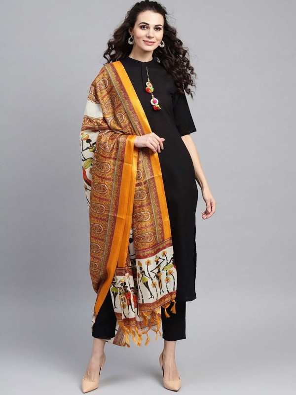 Cotton Readymade Salwar Suit in Black Colour.