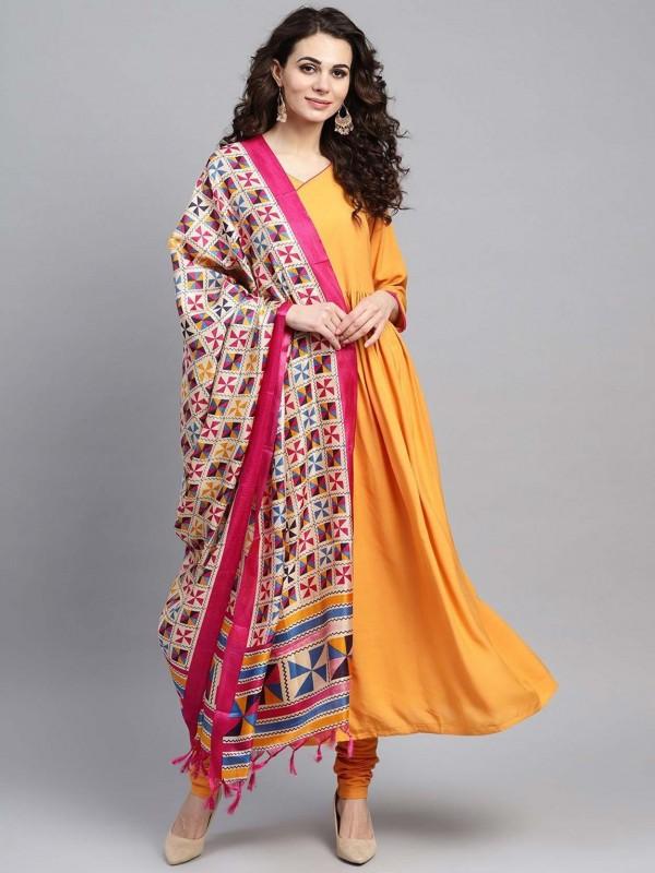 Yellow Colour Cotton Readymade Salwar Kameez.
