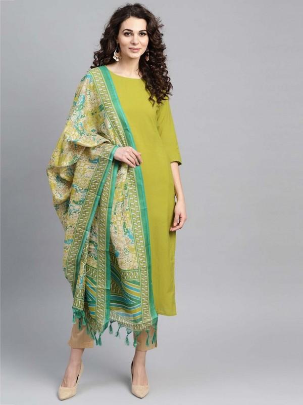 Green Colour Cotton Fabric Printed Salwar Suit.