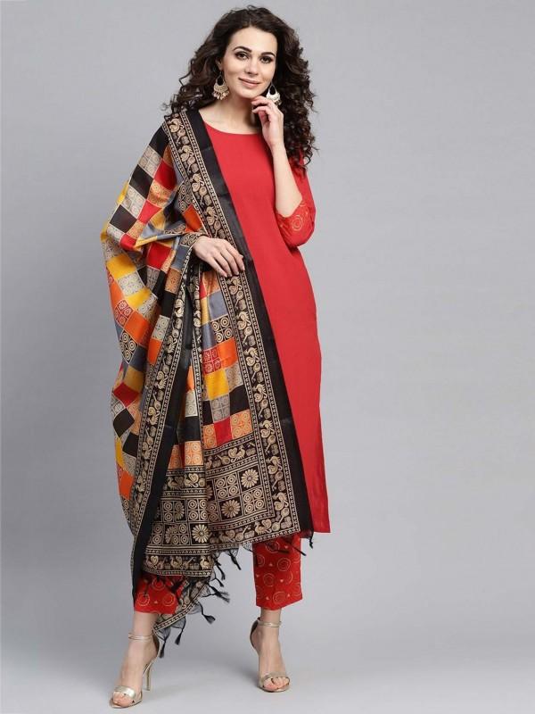 Red Colour Designer Salwar Suit in Cotton Fabric.