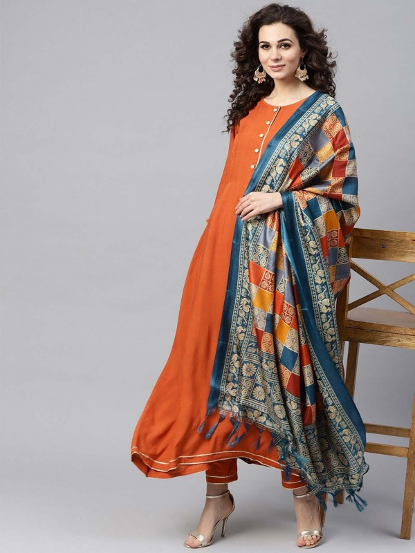 Cotton Readymade Salwar Suit in Rust Colour.
