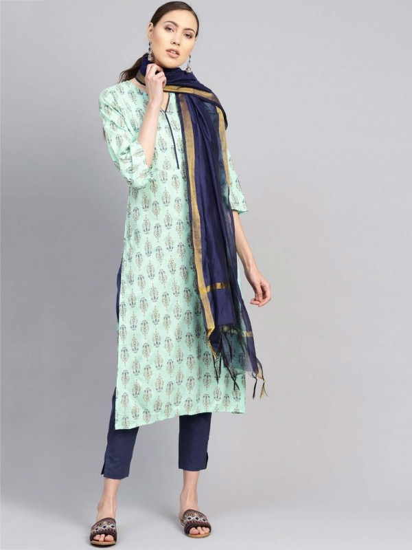 Sea Green Colour Cotton Printed Salwar Suit.
