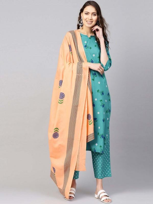 Green Colour Cotton Salwar Kameez.