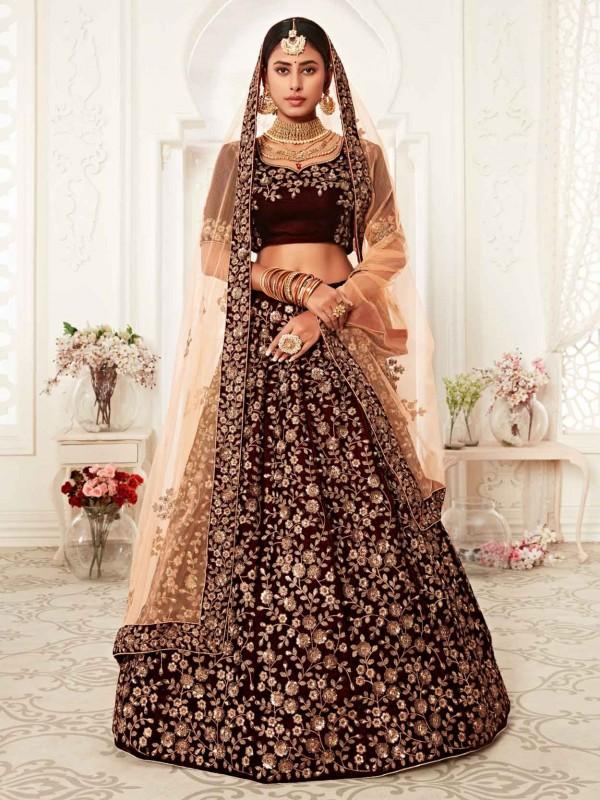 Maroon Colour Velvet Designer Wedding Lehenga.