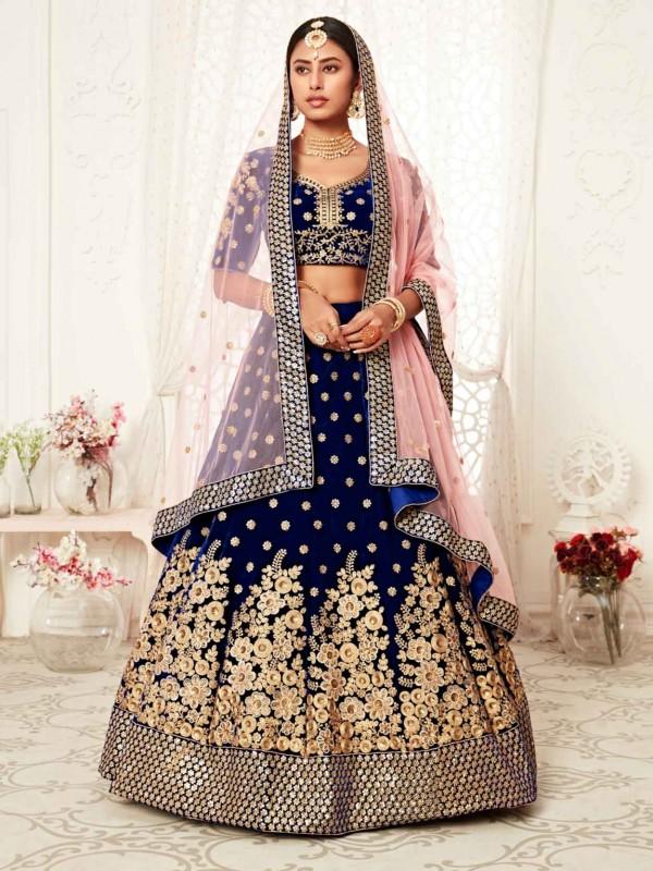 Navy Blue Colour Velvet Fabric Women Lehenga Choli.