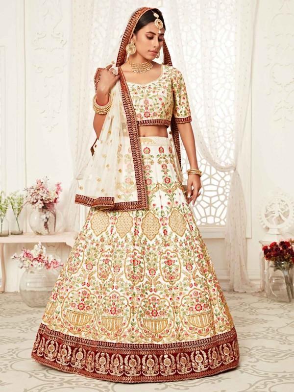 Off White Art Silk Wedding Lehenga Choli.